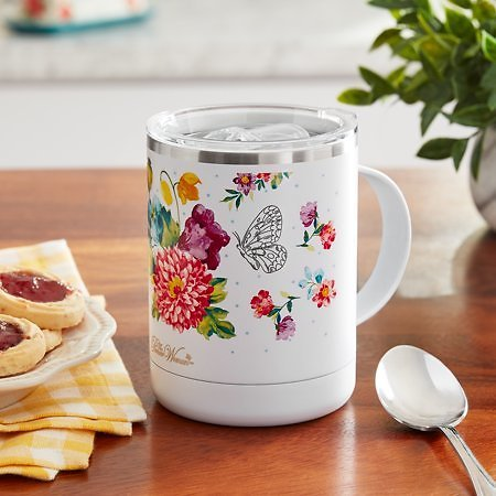 The Pioneer Woman Blooming Bouquet 14-Ounce Stainless Steel Ultimate Mug, White