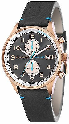 Spinnaker Men Maritime SP-5050-05 44mm Gray Dial Leather Chronograph Watch 4895118873716