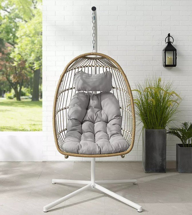 W. Trends Swinging Wicker Outdoor Egg Chair with Tufted Cushion - Brown