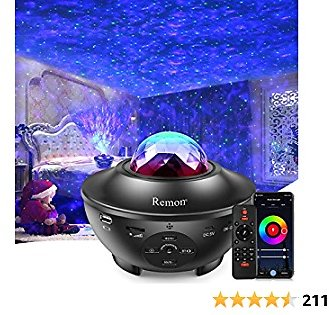 Remon Star Projector Galaxy Projector Smart Night Light with 10 Colors Ocean Wave and Starry Scene Works with Alexa and Google Home, Valentine Gift Bluetooth Music Speaker for Kids Bedroom