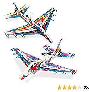 2 Pack Airplane Toys Glider Planes for Kids, Foam Planes for Kids 8 9 10 Year Old, Toy Airplane for Boys Birthday Gifts 5-7 Year Old, Rechargeable Auto Flying Toys Model Airplane for Outdoor Play