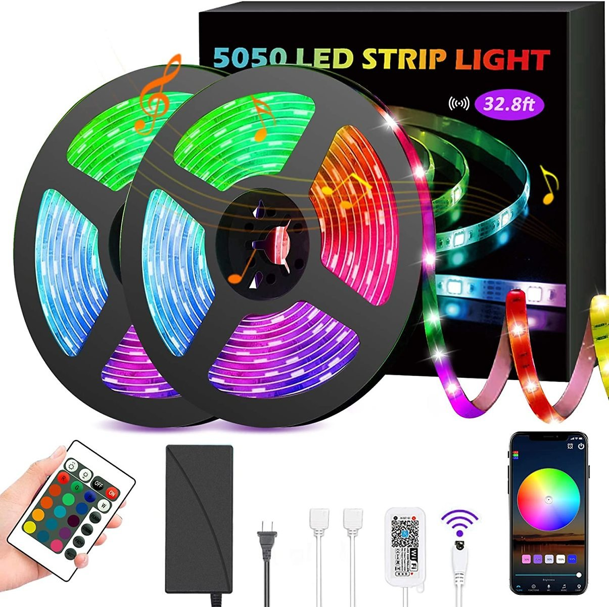 GSBLUNIE LED Strip Lights 32.8ft,Smart Lights Strip Music Sync,RGB Color Changing Rope Lights,APP Control with Remote,5050 RGB L
