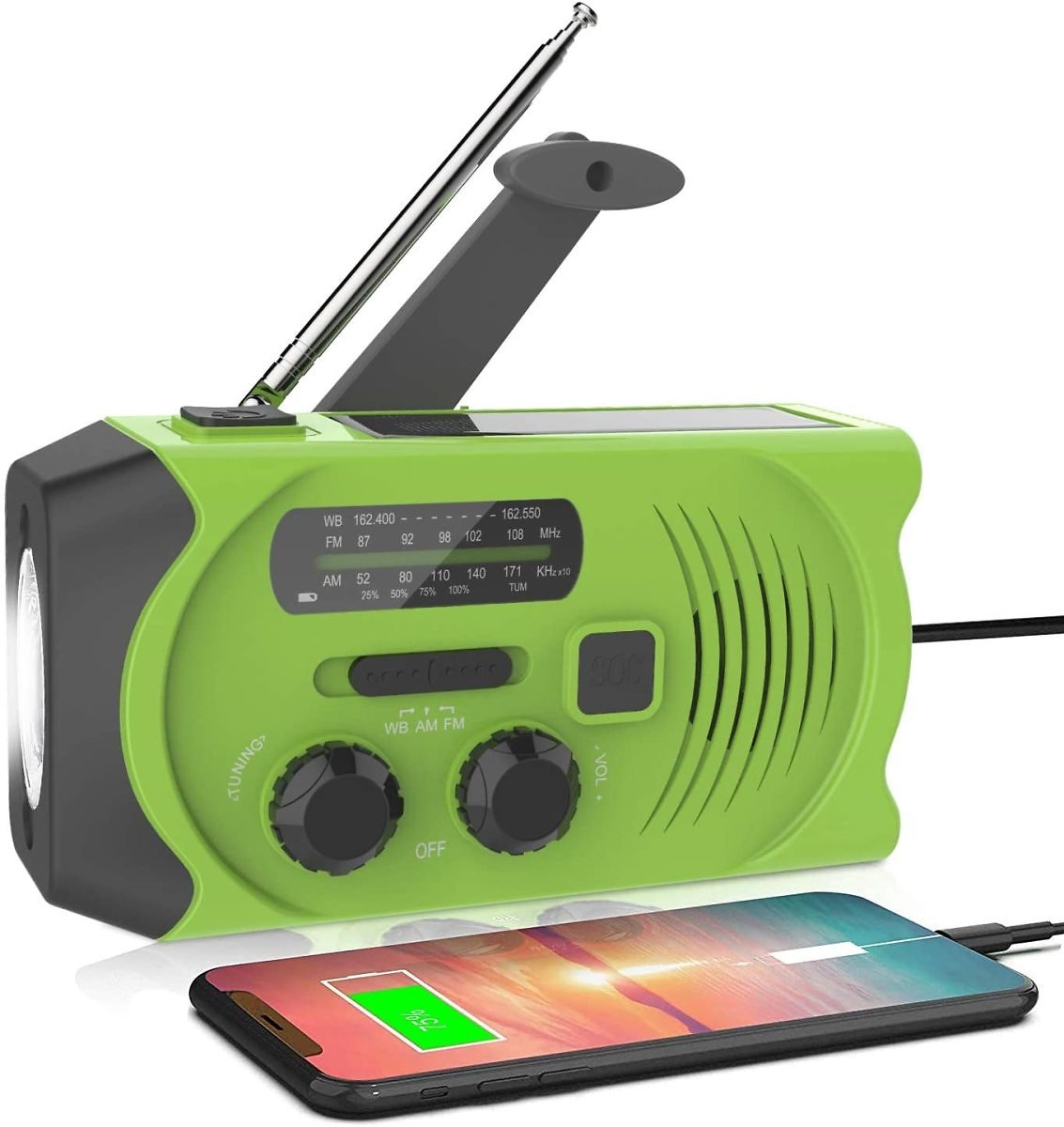 Latest Emergency Solar Hand Crank Portable Radio, NOAA Solar Hand Crank Portable Radio with M/FM, LED Flashlight, Reading Lamp,