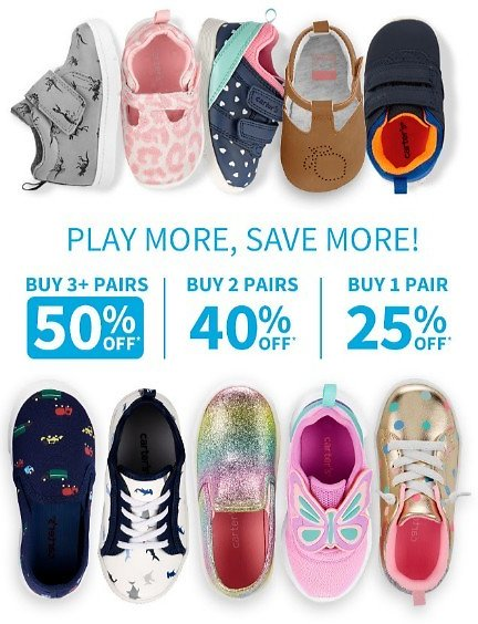 Buy More, Save More Shoes Up to 50% Off 3+ Pairs   Carter's