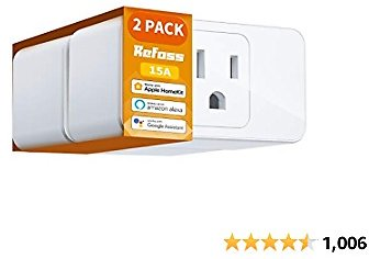 Smart Plug WiFi Outlet Work with Apple HomeKit, Siri, Alexa, Google Home, Refoss Smart Socket with Timer Function, Remote Control, No Hub Required, 16 A, 2 Pack