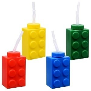 Colored Brick Drinking Cups with Straws, 16 Oz.