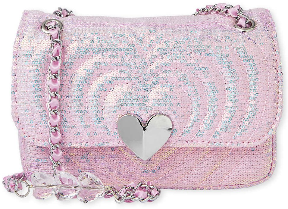 Girls Sequin Heart Quilted Bag