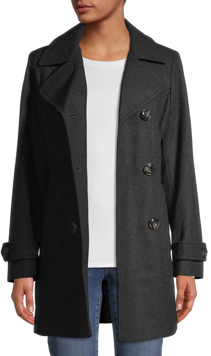 Anne Klein Double Breasted Wool-Blend Coat