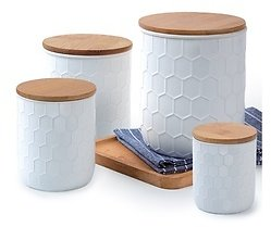 Culinary Edge 4-Piece Ceramic Canister Set with Bamboo Lids