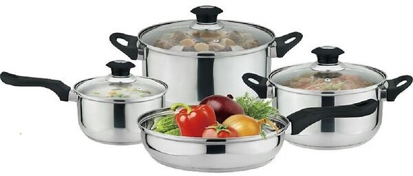 J&V Textiles 7 Piece Stainless Steel Non Stick Cookware Set