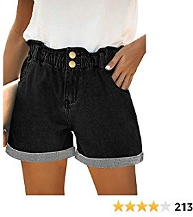 Onlypuff Denim Shorts for Women Elastic High Waist Loose Rolled Short Pants with Pockets