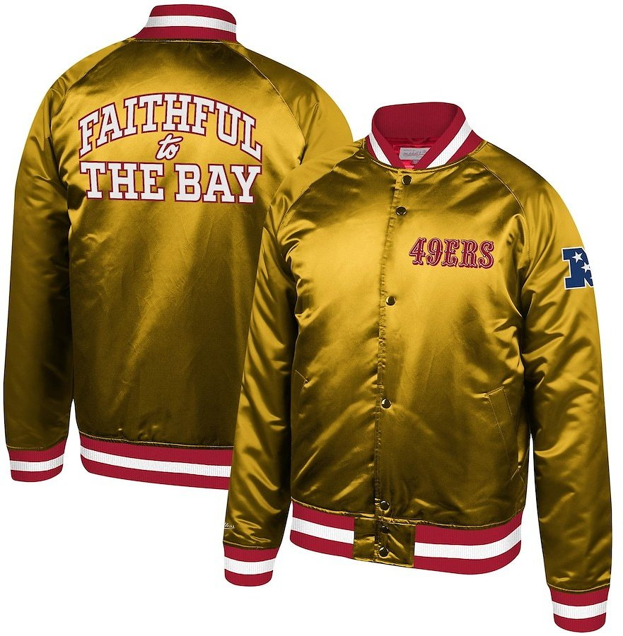 San Francisco 49ers Mitchell & Ness Faithful to The Bay Satin Full-Zip Jacket - Gold