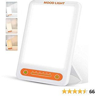 Light Therapy Lamp, Make Up Light UV Free 10000 Lux Sunlight Lamp with 3 Adjustable Colors,Timer Function, Adjustable Brightness