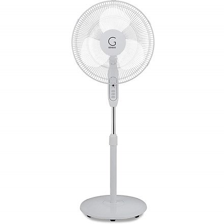 Genesis A2-STANDFAN 16 Inch Standing Fan, Adjustable Height, Oscillating, White (With Remote)