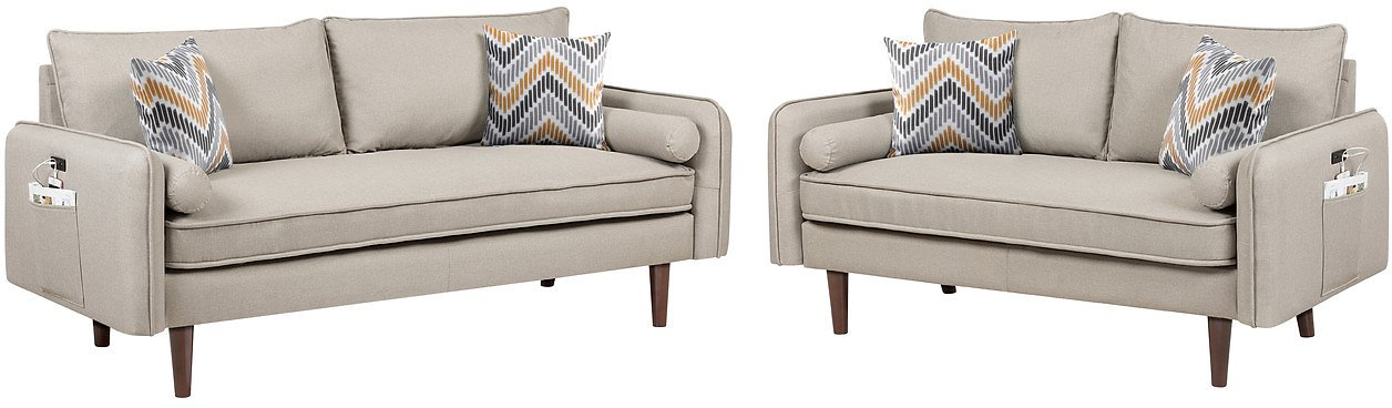 Mia Mid-Century Modern Beige Linen Sofa and Loveseat Living Room Set with USB Charging Ports & Pillows