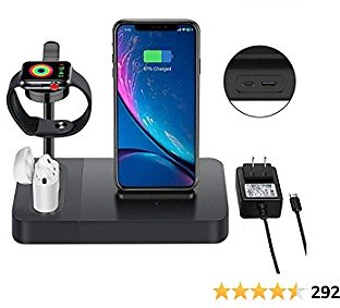 Wireless Charger Station for Watch Stand 3 in 1 Airpods Charger Qi 7.5W Wireless Charging Dock Compatible with I Phone 12 11 X XS 8 Plus Etc. (Included AC Power Adapter)
