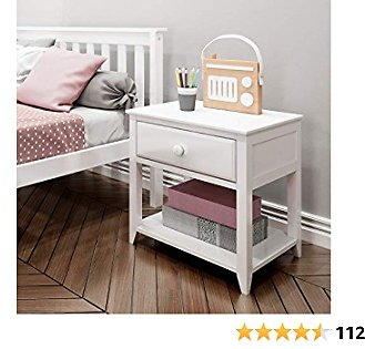 Max & Lily Solid Wood Nightstand, White