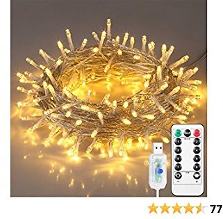 Indoor String Lights,Christmas Decorations Lights, 200 LEDs Fairy Lights,with Remote Control USB Powered, 8 Lighting Modes,66ft for Chirstmas Party,Rooms,Weddings, Garden Decorations