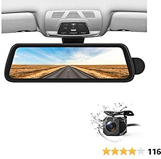BOSCAM Mirror Dash Cam Sony IMX Sensor Dash Camera for Cars, Backup Camera with Night Vision Full Laminated and Anti-Glare Display, 1080P Dual Dash Cam with Streaming Media (R2)
