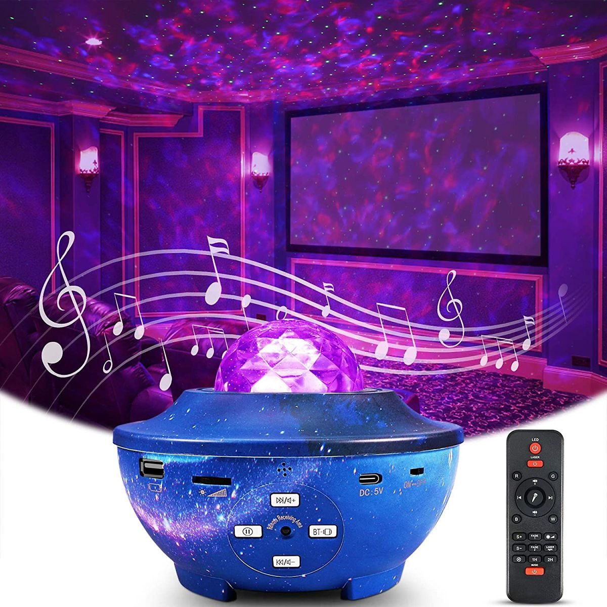 Star Projector Night Light, Delicacy Galaxy Projector Ocean Wave Starry Sky Projector with Bluetooth Speaker,Rotating LED Nebula
