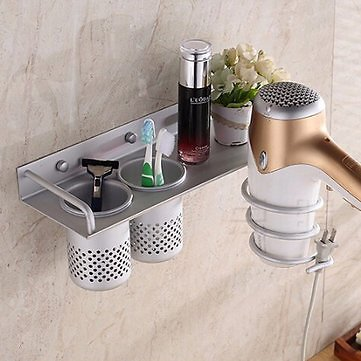 BR-31 Bathroom Wall Mount Hanging Storage Rack with 360 Degree Rotation Towel Holder