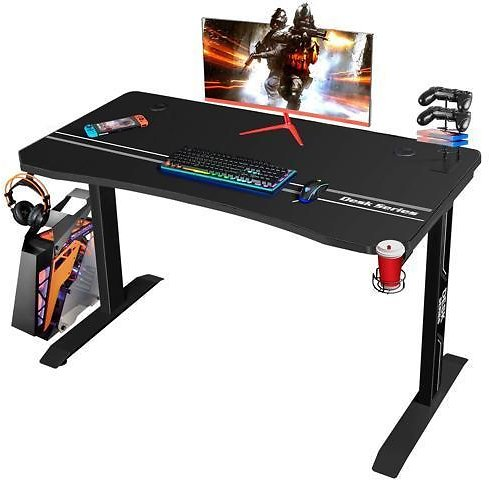 Furmax 44 Inch Gaming Desk T-Shaped PC Computer Table, Home Office Desk Carbon Fiber Surface Workstation with Free Full Coverage Mouse Pad, Cup Holder and Headphone Hook