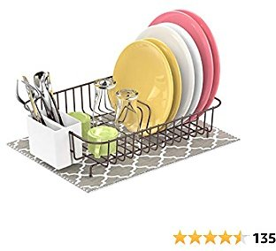 Dish Drying Rack, F-color Rustproof Dish Rack with Microfiber Dish Drain Mat, Wire Dish Rack with Utensil Holder for Kitchen Countertop, 13.8 X 10.6 X 3.5 Inch, Bronze