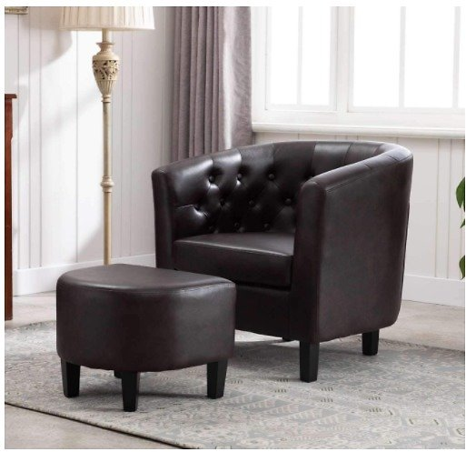 Amazon Basics Tufted Barrel Accent Chair with Ottoman