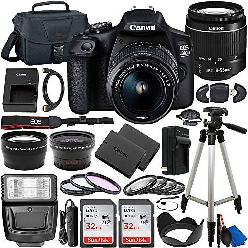 Canon EOS 2000D (Rebel T7) DSLR Camera with EF-S 18-55mm F/3.5-5.6 Lens & Deluxe Accessory Bundle
