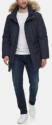 Calvin Klein Men's Long Snorkel Coat with Faux-Fur Trimmed Hood & Reviews - Coats & Jackets - Men