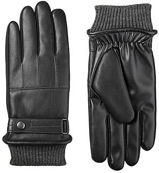 Isotoner Signature Men's Sleekheat Belted Faux Nappa Touchscreen Gloves & Reviews - Hats, Gloves & Scarves - Men