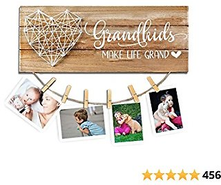 Cocomong Grandkids Photo Frame – Grandkids Make Life Grand – Gifts for Grandma & Grandpa from Grandchildren, Grandparents Picture Frame 13.5 X 5.5 Inch with 6 Clips