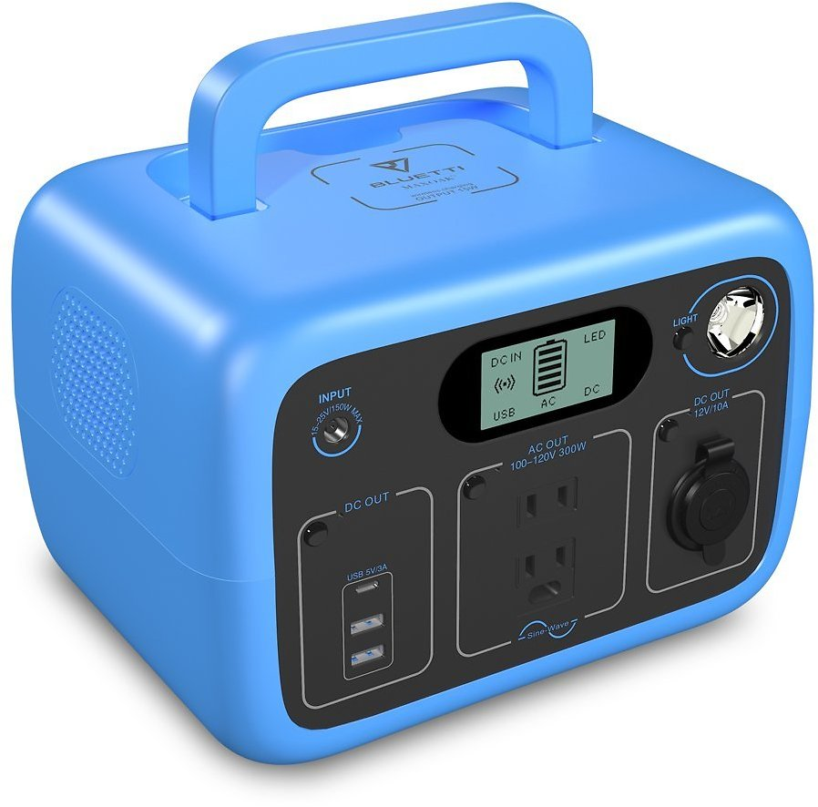 BLUETTI AC30 Portable Power Station 300Wh 300W Backup Lithium Battery W/2 AC Outlet Pure Sine-Wave,DC12V, Emergenc LED Lighting,Clean & Silent Solar Generator for Home Camping Travel