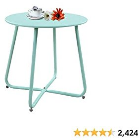 Grand Patio Steel Patio Side Table, Weather Resistant Outdoor Round End Table, Mint Green