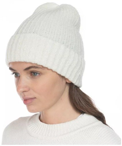 Rib Solid Beanie With Lurex