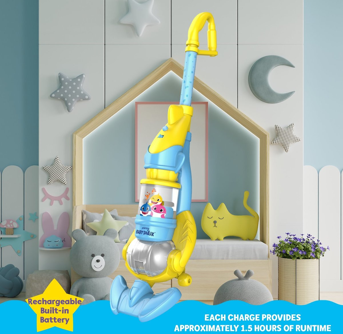 Pinkfong Baby Shark Children's Vacuum with Real Suction Power (VC101B)