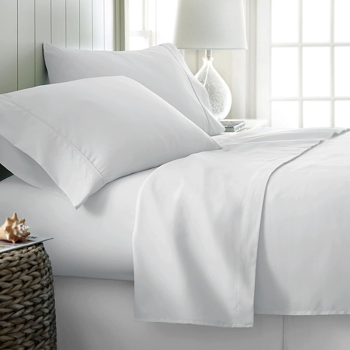 1000 Thread Staple Egyptian Pure Cotton Pillow Cases, Set of 2 Queen