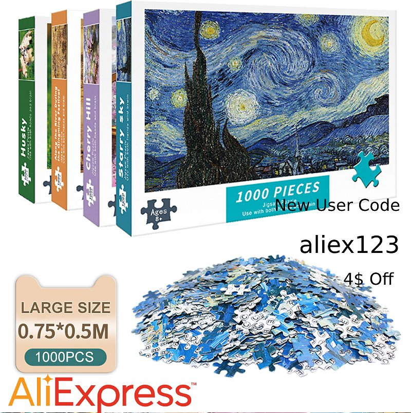 36% Off + Extra 4$ Off = 6.18$ Now On 1000 Pieces Jigsaw Puzzles