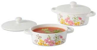 Martha Stewart Floral Oval Stoneware Cocottes, Set of 2
