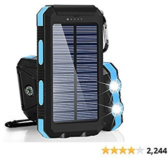Solar Charger 30,000mAh, Dualpow Portable Solar Battery Charger External Battery Pack Phone Charger Power Bank for Cellphones Tablet with Flashlight and a 3 Feet Micro USB Cord (Baby Blue)