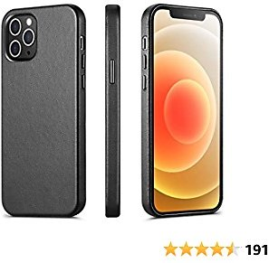 ILOFRI Compatible with IPhone 12 Mini Case, Premium Real Leather Case Support Wireless Charging,Slim Non-Slip Grip Scratch Resistant Full Body Protective Phone Case for IPhone, 5.4 Inch - Black