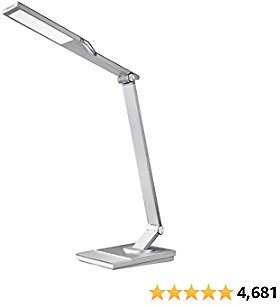 TaoTronics TT-DL16 Stylish Metal LED Desk Lamp, Office 5V/2A USB Port, 5 Color Modes, 6 Brightness Levels, Touch Control, Timer, Night Light, Philips Enabled Licensing Program(Silver)
