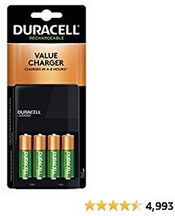 Duracell - Ion Speed 1000 Battery Charger with 4 AA Batteries - Charger for AA and AAA Batteries