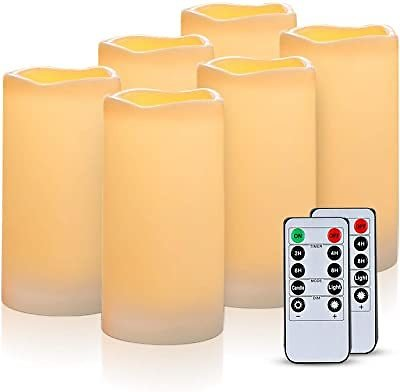 Flameless Candles Battery Operated Pillar Real Wax Flickering Electric LED Candle Gift Sets with Remote Control Cycling 24 Hours Timer By Aku Tonpa, 3