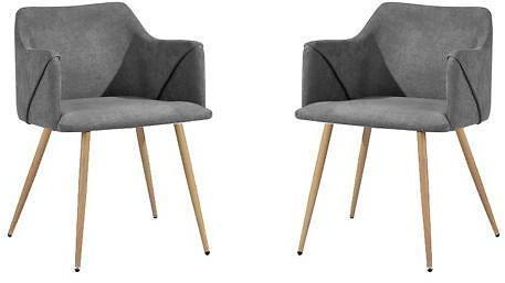 Viggo-Dinning Chair, Mid-Century Modern Dining Room Accent Chair with Arms, Set of 2 Grey - Newegg.com