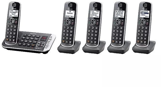 Panasonic Cordless Phone with Link to Cell and Digital Answering Machine, 5 Handsets - Black (KX-TGE675B)