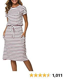 Simier Fariry Womens Adjustable Waistline Midi Dress with Pockets
