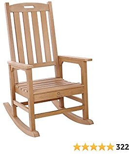 Outdoor Rocking Chair with 350lbs Weight Capacity, OT QOMOTOP Fade-Resistant Porch Rocking Chair, Weatherproof Rocking Chair, Outdoor Rocker for Relax, 34L 27W 46.8H (Teak Color)