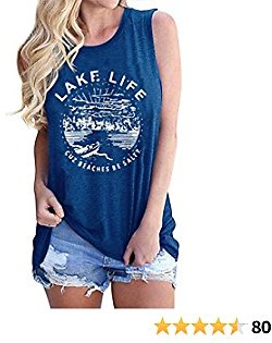 VILOVE Women Graphic Tees Summer Vacation Tank Tops Lake Life Letters Print T Shirt Funny Saying Sleeveless Casual Vest Tee