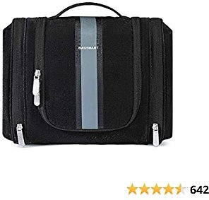 Hanging Toiletry Bag, BAGSMART Travel Toiletry Organizer with Hanging Hook, Water-resistant Cosmetic Makeup Bag Travel Organizer for Shampoo, Full Sized Container, Toiletries, Black